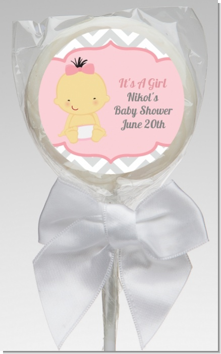 It's A Girl Chevron Asian - Personalized Baby Shower Lollipop Favors