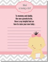 It's A Girl Chevron Asian - Baby Shower Notes of Advice