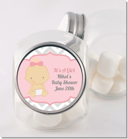 It's A Girl Chevron - Personalized Baby Shower Candy Jar