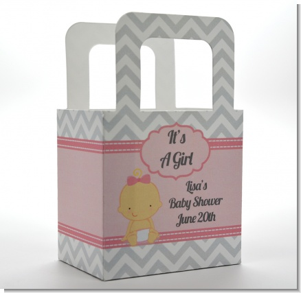 It's A Girl Chevron - Personalized Baby Shower Favor Boxes