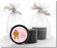 It's A Girl Chevron African American - Baby Shower Black Candle Tin Favors