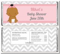 It's A Girl Chevron African American - Personalized Baby Shower Candy Bar Wrappers