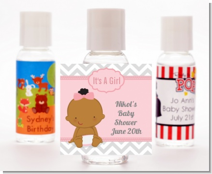 It's A Girl Chevron African American - Personalized Baby Shower Hand Sanitizers Favors