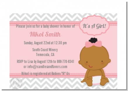 It's A Girl Chevron African American - Baby Shower Petite Invitations