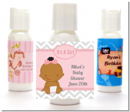 It's A Girl Chevron African American - Personalized Baby Shower Lotion Favors