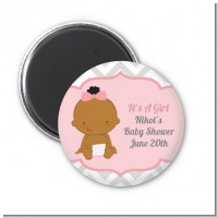It's A Girl Chevron African American - Personalized Baby Shower Magnet Favors