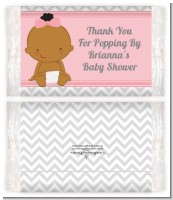 It's A Girl Chevron African American - Personalized Popcorn Wrapper Baby Shower Favors
