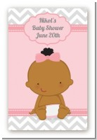 It's A Girl Chevron African American - Custom Large Rectangle Baby Shower Sticker/Labels