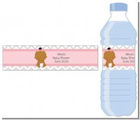 It's A Girl Chevron African American - Personalized Baby Shower Water Bottle Labels