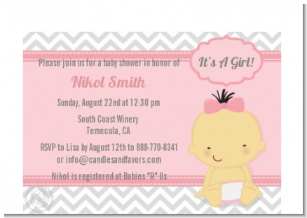 It's A Girl Chevron Asian - Baby Shower Petite Invitations