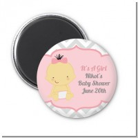 It's A Girl Chevron Asian - Personalized Baby Shower Magnet Favors