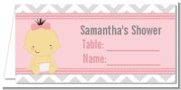 It's A Girl Chevron Asian - Personalized Baby Shower Place Cards