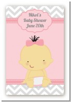 It's A Girl Chevron Asian - Custom Large Rectangle Baby Shower Sticker/Labels