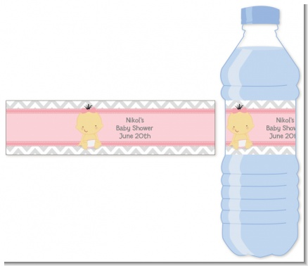 It's A Girl Chevron Asian - Personalized Baby Shower Water Bottle Labels