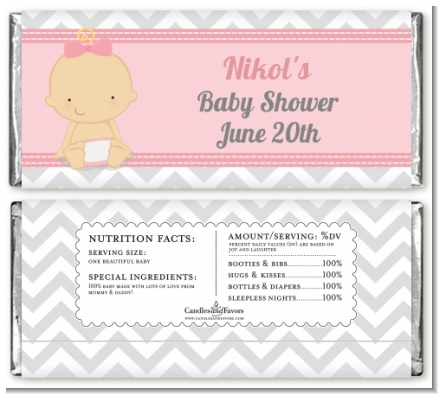 It's A Girl Chevron - Personalized Baby Shower Candy Bar Wrappers