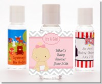 It's A Girl Chevron - Personalized Baby Shower Hand Sanitizers Favors