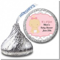 It's A Girl Chevron - Hershey Kiss Baby Shower Sticker Labels