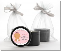 It's A Girl Chevron Hispanic - Baby Shower Black Candle Tin Favors