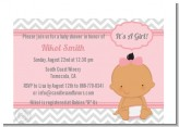 It's A Girl Chevron Hispanic - Baby Shower Petite Invitations