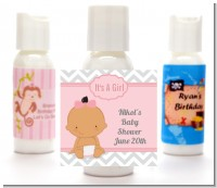 It's A Girl Chevron Hispanic - Personalized Baby Shower Lotion Favors