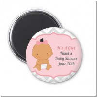 It's A Girl Chevron Hispanic - Personalized Baby Shower Magnet Favors