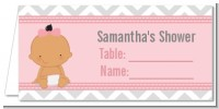 It's A Girl Chevron Hispanic - Personalized Baby Shower Place Cards