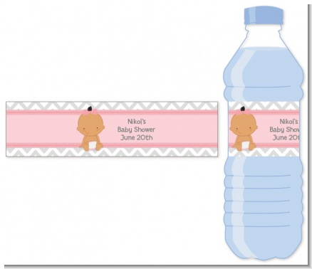 It's A Girl Chevron Hispanic - Personalized Baby Shower Water Bottle Labels