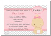 It's A Girl Chevron - Baby Shower Petite Invitations