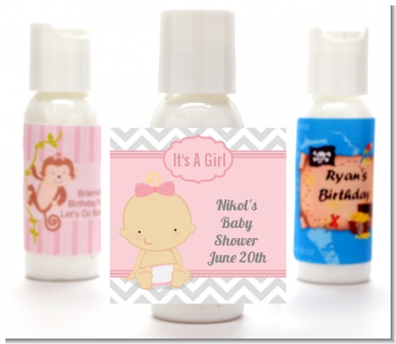 It's A Girl Chevron - Personalized Baby Shower Lotion Favors