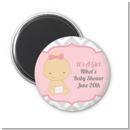 It's A Girl Chevron - Personalized Baby Shower Magnet Favors