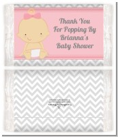 It's A Girl Chevron - Personalized Popcorn Wrapper Baby Shower Favors