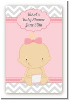 It's A Girl Chevron - Custom Large Rectangle Baby Shower Sticker/Labels