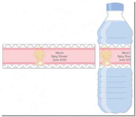 It's A Girl Chevron - Personalized Baby Shower Water Bottle Labels
