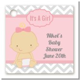 It's A Girl Chevron - Personalized Baby Shower Card Stock Favor Tags