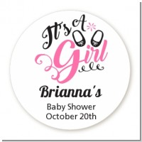 It's A Girl - Round Personalized Baby Shower Sticker Labels