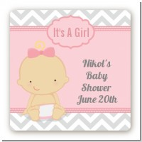 It's A Girl Chevron - Square Personalized Baby Shower Sticker Labels