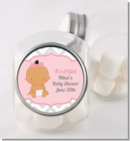 It's A Girl Chevron Hispanic - Personalized Baby Shower Candy Jar