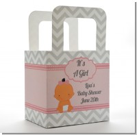 It's A Girl Chevron Hispanic - Personalized Baby Shower Favor Boxes