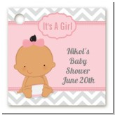It's A Girl Chevron Hispanic - Personalized Baby Shower Card Stock Favor Tags