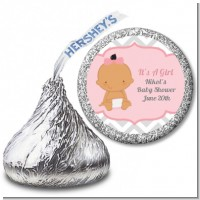 It's A Girl Chevron Hispanic - Hershey Kiss Baby Shower Sticker Labels