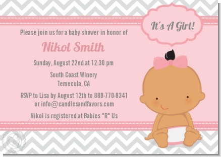 It's A Girl Chevron Hispanic - Baby Shower Invitations