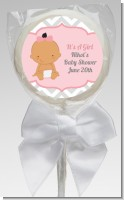 It's A Girl Chevron Hispanic - Personalized Baby Shower Lollipop Favors