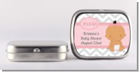 It's A Girl Chevron Hispanic - Personalized Baby Shower Mint Tins