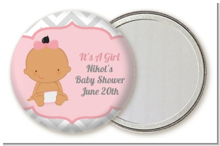 It's A Girl Chevron Hispanic - Personalized Baby Shower Pocket Mirror Favors