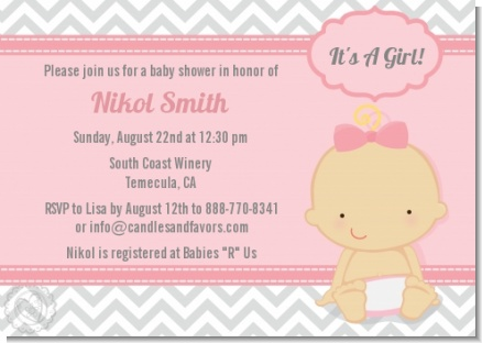 It's A Girl Chevron - Baby Shower Invitations