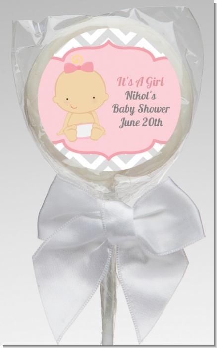 It's A Girl Chevron - Personalized Baby Shower Lollipop Favors