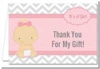 It's A Girl Chevron - Baby Shower Thank You Cards