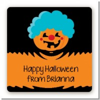 Jack O Lantern Clown - Square Personalized Halloween Sticker Labels