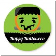 Jack O Lantern Frankenstein - Round Personalized Halloween Sticker Labels thumbnail