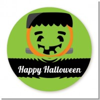 Jack O Lantern Frankenstein - Round Personalized Halloween Sticker Labels